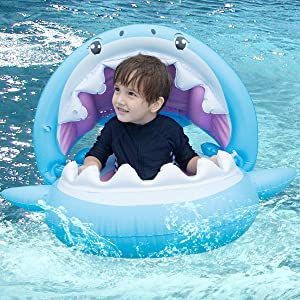 Soyoekbt Baby Shark Pool Float with Canopy Inflatable Shark Swimming Float for Kids 6-36 Months
