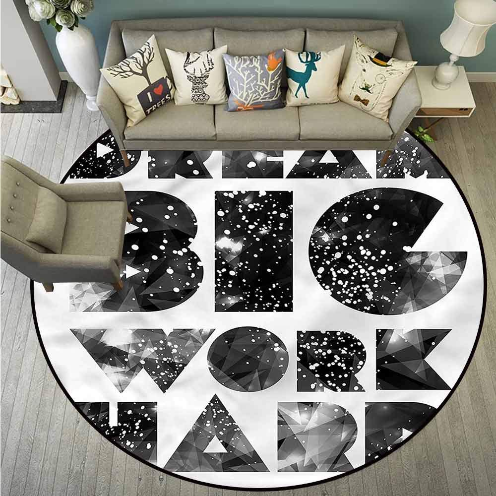 Round Carpets,Indie,Quote with Galaxy Stars,Large Area mat,4'7""