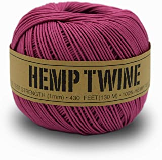 product image for 100% Hemp Twine Ball 1MM, 100G/430 Ft. - 20 lb. Test Strength - Pink