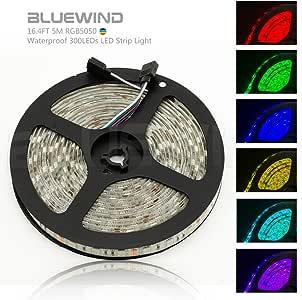 Blue Wind NEW 2018 LED Strip Lights-16.4FT 5M SMD 5050 Waterproof 300LEDs RGB Color Changing Flexible LED Strip Light