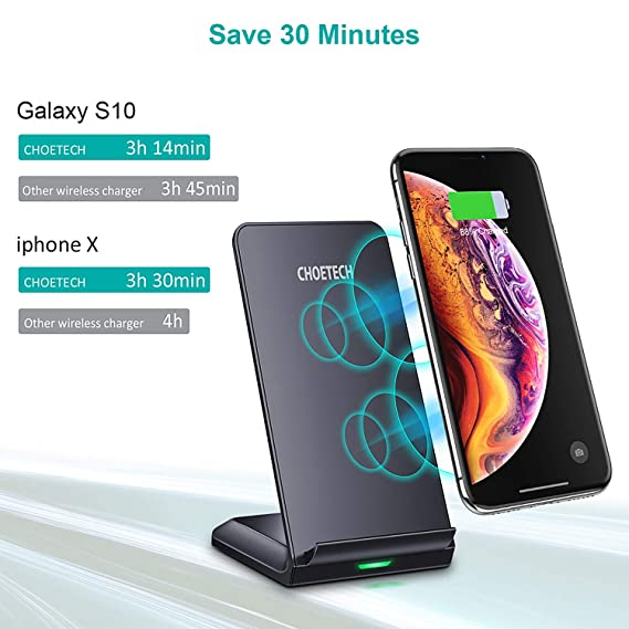 CHOETECH Wireless Charger, Qi-Certified 10W Max Fast Wireless Charging Stand, Compatible iPhone 11/11 Pro Max/XS Max/XR/XS/X/8/8 Plus, Galaxy Note ...