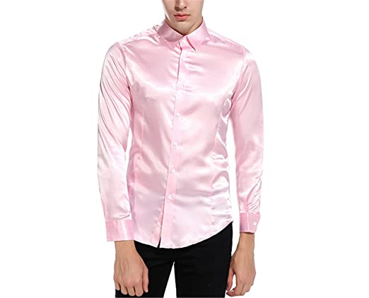 Jimmetfrend Silk Satin Shirt Men Shirt Long Sleeve Slim Fit Emulation Silk Casual Button Down Dress Shirts at Amazon Mens Clothing store:
