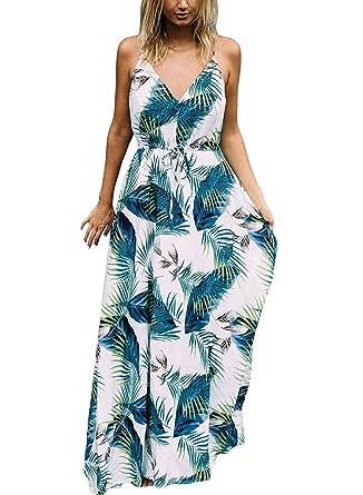 free shipping 6f3ad c6cbf Donne Elegante Abito da Cerimonia Sera Lungo Schienale Fascia Vestito Senza  Maniche Estivo Casual Floreale Fiori Fantasia Dress