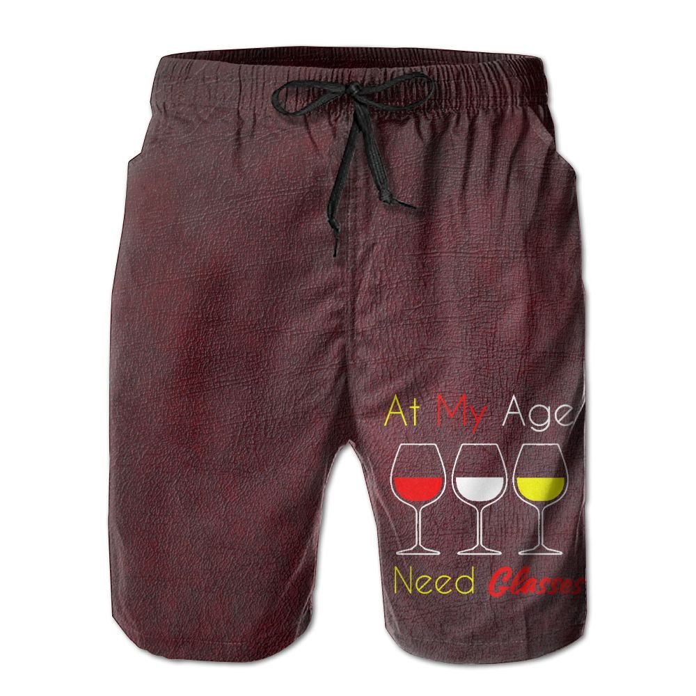 Fay78g45dgwf Mens at My Age I Need Wine Glasses Attractive to The Opposite Sex Beach Shorts XXL by Fay78g45dgwf