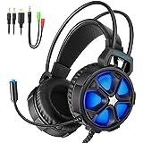【ゲーミングヘッドセット】EasySMX COOL 2000 PS4 LEDステレオゲーミングヘッドホン 高集音性 マイク付き 3.5mm LEDライトモード切り替え ボリューム調節可能 Yスプリッタケーブル PC/Mac/New Xbox One Slim / PS4 / スマホ/Nintendo Switchに対応 1年保証(ブラック+ブルー)
