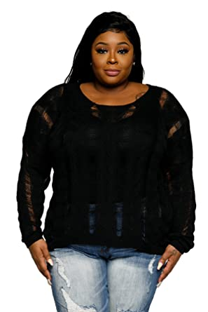 Hadari Womens Plus Size Distressed Pullover Knit Sweater At Amazon