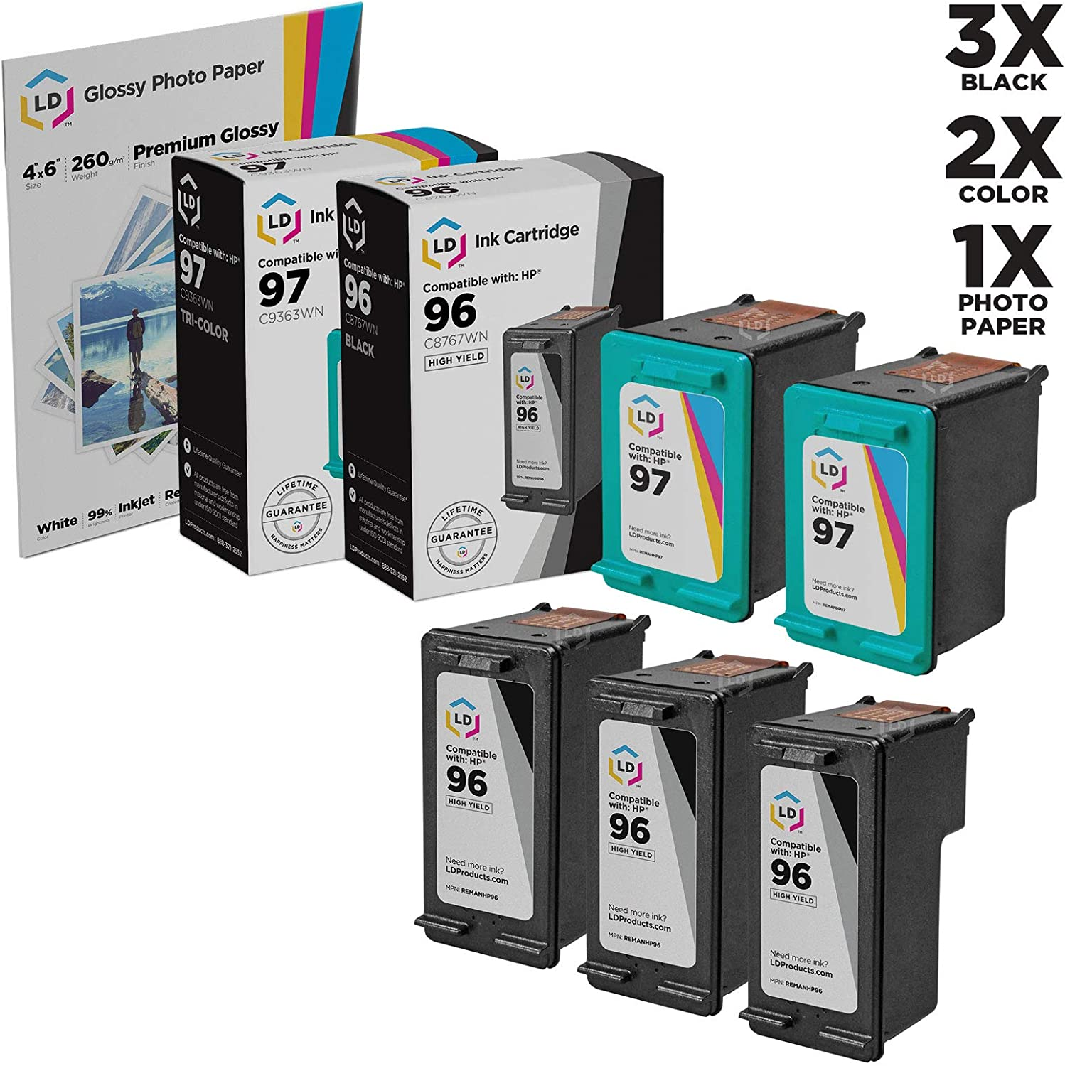 LD Remanufactured Ink Cartridge Replacements for HP 96 & HP 97 High Yield (3 Black, 2 Color, 5-Pack)
