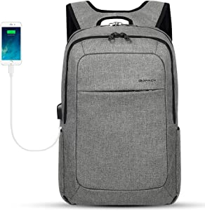 KOPACK Slim Laptop Backpacks Anti Thief Business Computer Bag College School 15 15.6 inch Gray