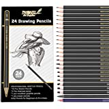 Professional Drawing Sketching Pencil Set, 24 Pieces Art Drawing Graphite Pencils(14B - 7H), Charcoal Pencils for…