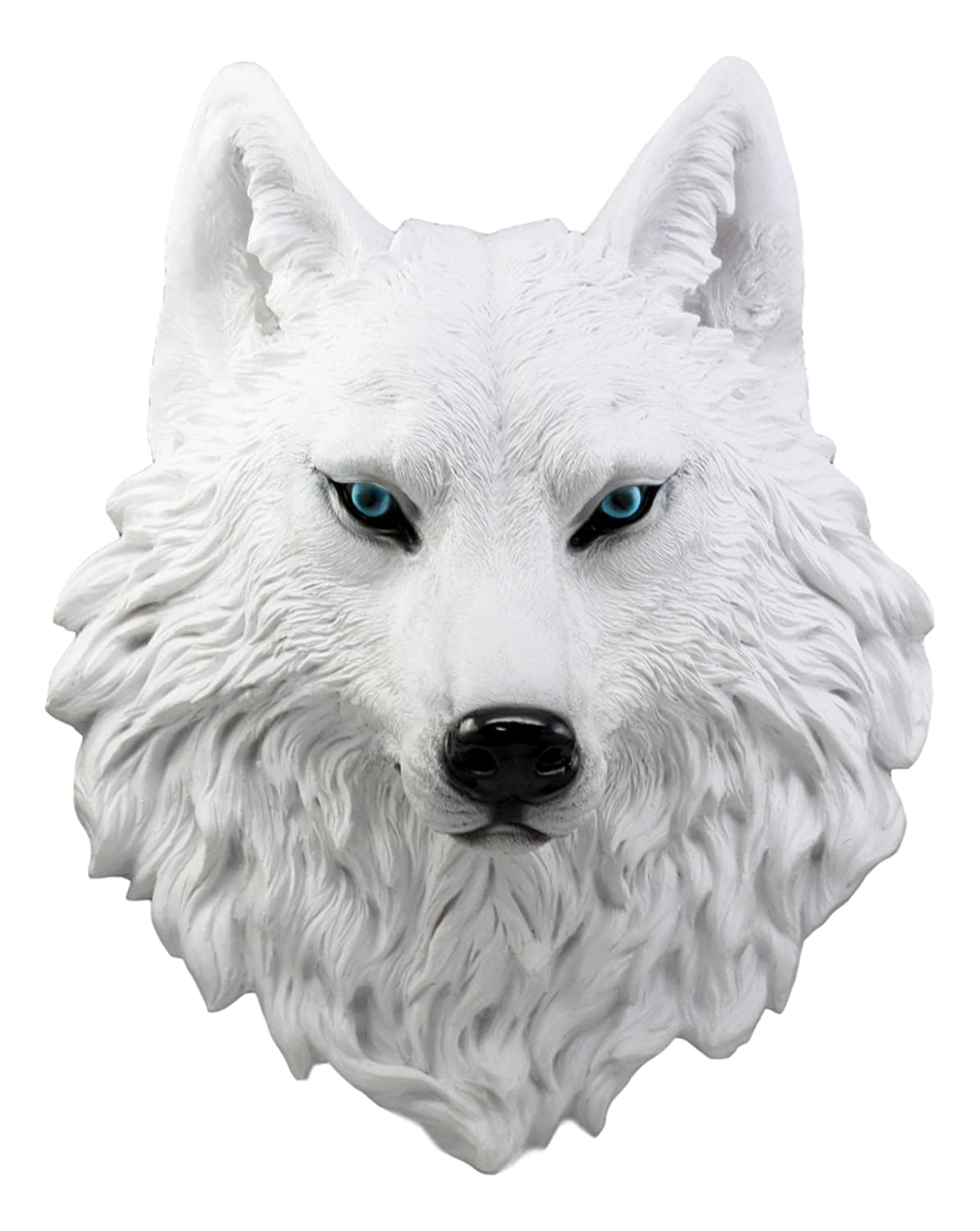 Ebros large ghost albino snow white wolf head wall decor plaque 16 tall taxidermy art decor sculpture canis lupus wall bust plaque