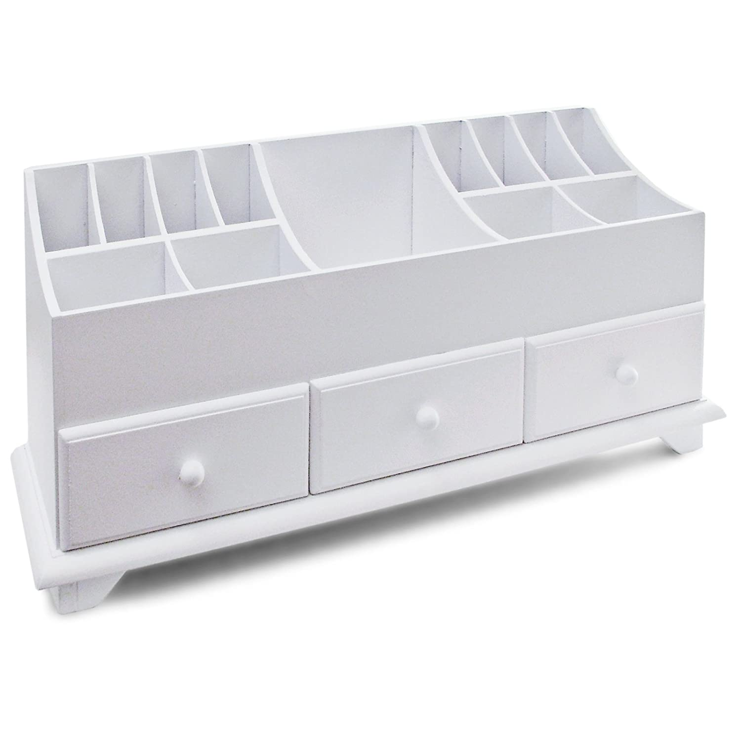 White Makeup Organizer Wooden Desk Tidy Caddy With Three Drawers And 13 Organiser