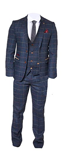 e5a8b11eb892 Marc Darcy Mens Vintage Tweed 3 Piece Check Suit - Eton Navy Blue:  Amazon.co.uk: Clothing
