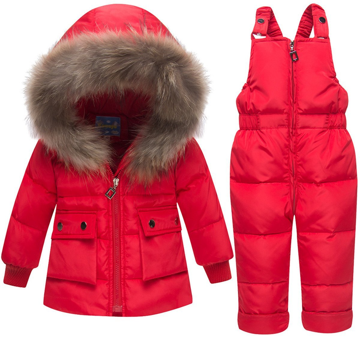 JELEUON Baby Girls and Boys Winter Warm Hooded Zipper Fur Trim Snowsuit Puffer Down Jacket with Snow Ski Bib Pants