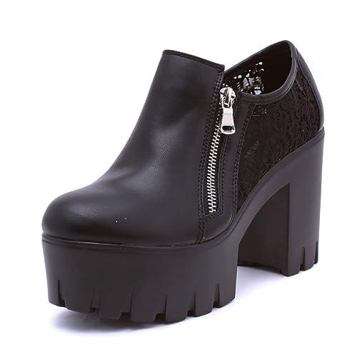 Scarpe Decoltè Stivaletti Tronchetto tacco 11 Plateau  Carrarmato Shoes LY1609-1