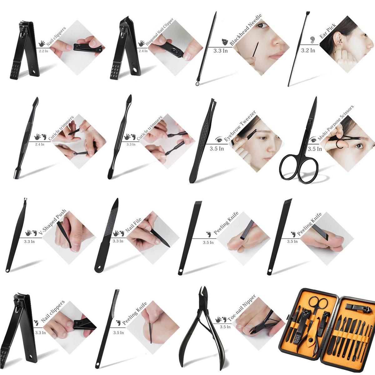 Keiby Citom Professional Stainless Steel Nail Clipper Travel & Grooming Kit Nail Tools Manicure & Pedicure Set of 15pcs with Luxurious Case(Black/Yellow) by Keiby Citom (Image #7)