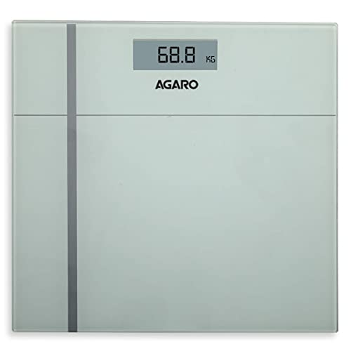5. AGARO WS 503W Ultra-Lite Digital Personal Body Weighing Scale with Step-On Technology & Anti Skid Tempered Glass (Battery Included) Black