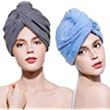 Lovife Microfiber Hair Towel Wrap 2 Pack Quick Drying Towels Hair Drying Turban Towel with Button Absorbent Cap for Long & Cu