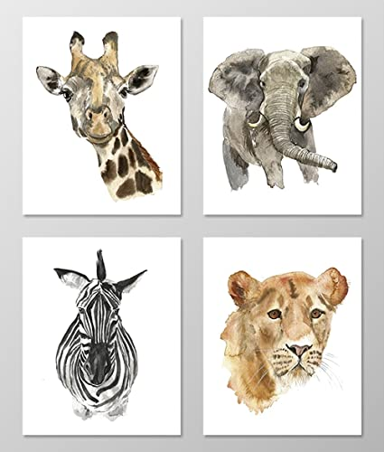 Nursery Art #A002   Set Of 4 Animal Art Prints (8x10). Nursery