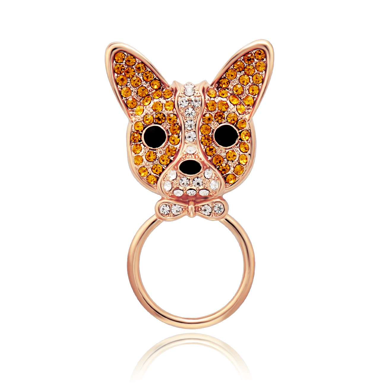 SENFAI Lovely French Bulldog Eyeglass Holder Brooch for Dog Lover (Rose gold)