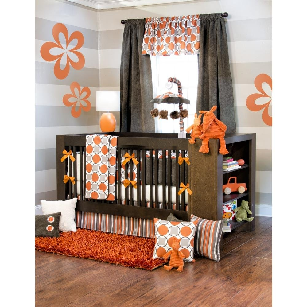 orange crib bedding sets bright cheerful happy for baby and mama - echo  piece baby crib bedding set with bumper by sweet potato