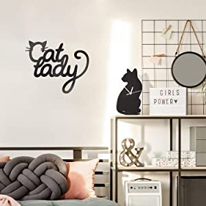 """Vinyl Wall Art Decal - Cat Lady - 12.5"""" x 10.5"""" - Cute Kitty Whiskers Paw Home Apartment Bedroom Living Room Decor - Trendy Furry Pet Lovers Work Office Business Indoor Quote (12.5"""" x 10.5"""", Black)"""