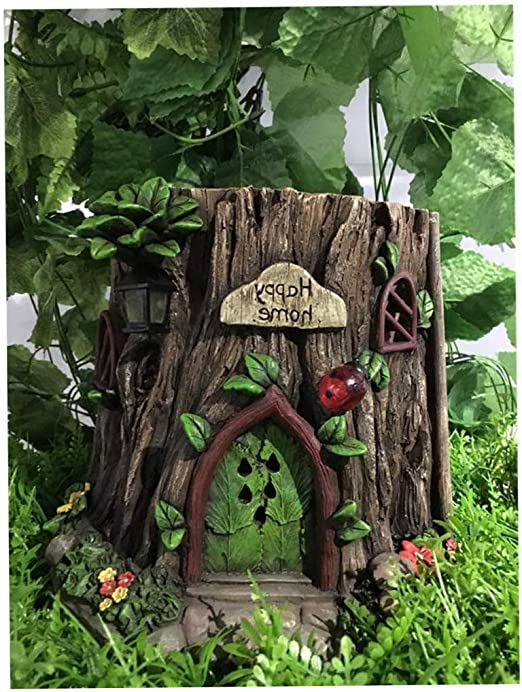 Jardín al Aire Libre jardín Patio decoración Hada jardín Tronco casa con Luces LED solares: Amazon.es: Jardín
