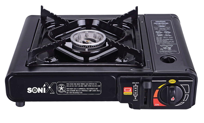 Portátil 8000 BTU único quemador de butano Gas estufa de cocina con cómodo funda de transporte, parabrisas y láser sistema de seguridad de bloqueo para al ...