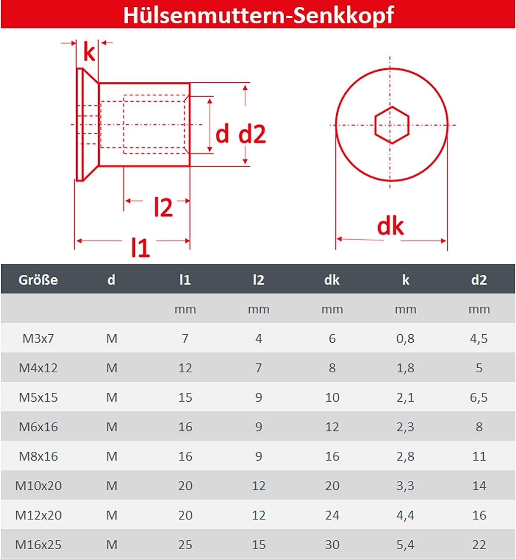 FASTON H/ülsenmuttern mit Senkkopf und Innensechskant M4 Edelstahl A1 VA H/ülsenmutter ISK 10 St/ück