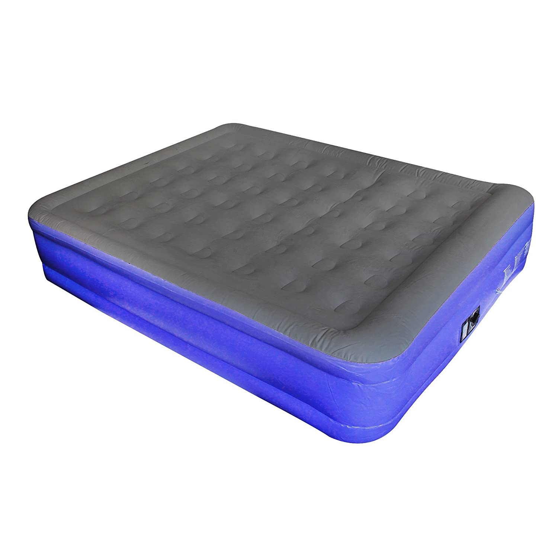 Todeco - Cama Inflable, Cama de Aire - Accesorios: Bomba eléctrica - Tiempo Completo de inflado: Aproximadamente 2,5 min - Doble, 203 x 152 x 46 cm, Gris/Púrpura