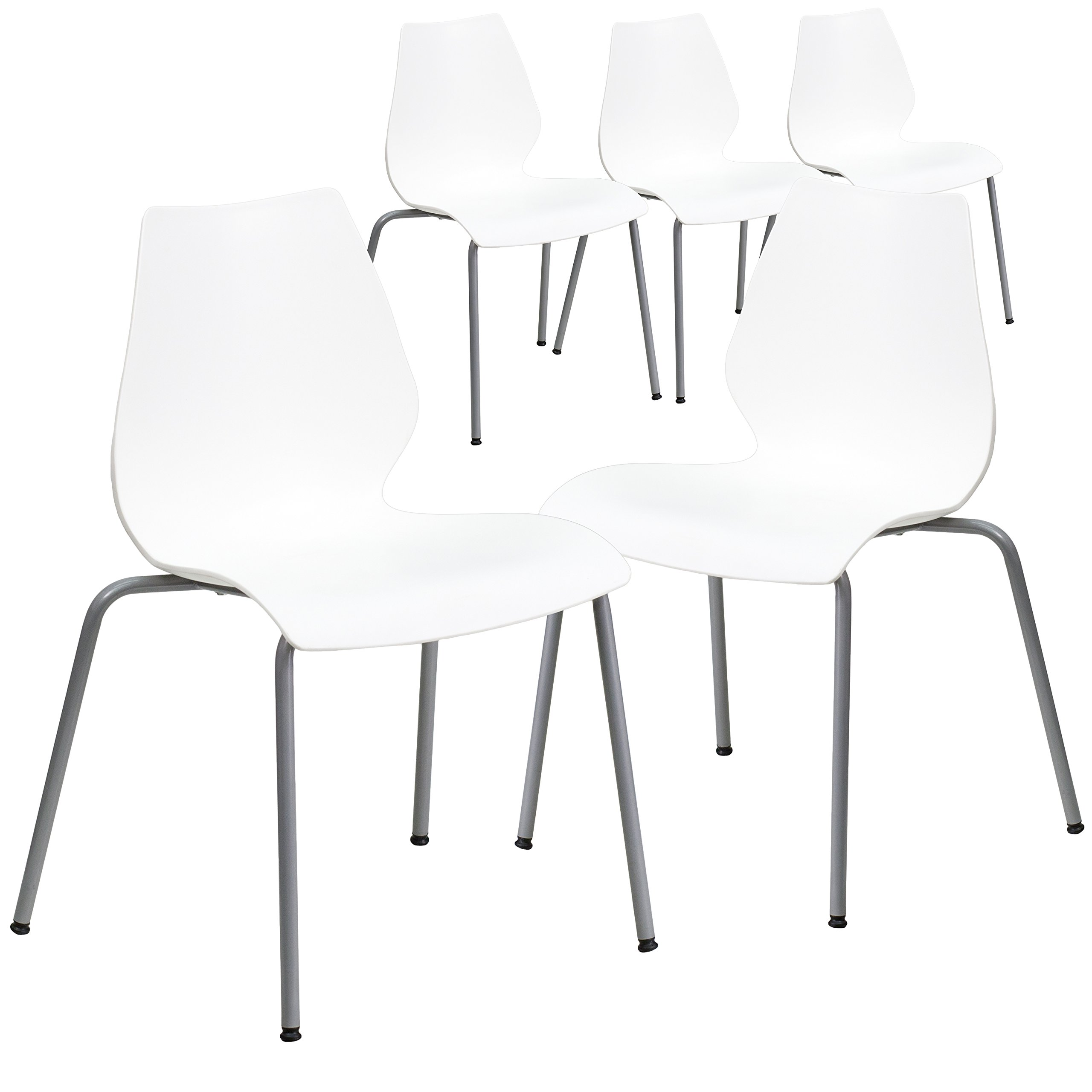Flash Furniture 5 Pk. HERCULES Series 770 lb. Capacity White Stack Chair with Lumbar Support and Silver Frame