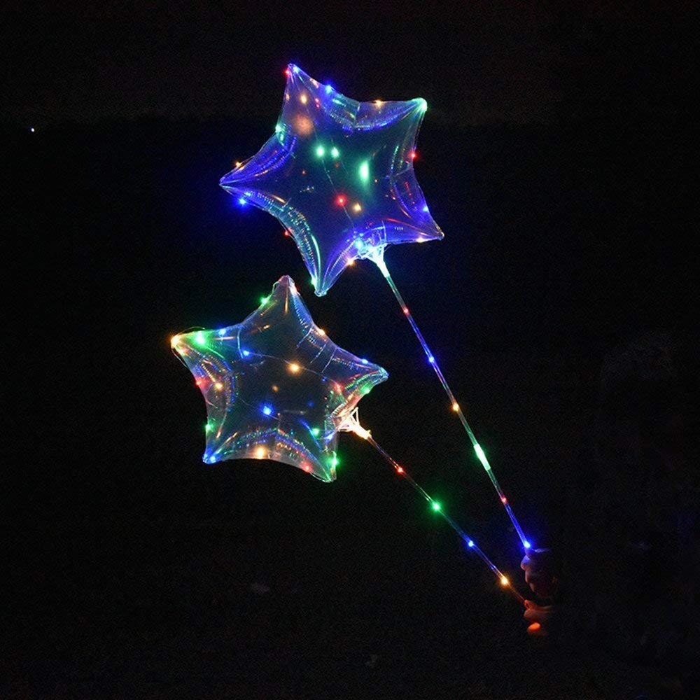 Star5PCS Mystery&Melody 50PCS Led Bobo Balloon Lights Reusable Lamps Decorations for Festival Birthday Party Luminous 18 inch String Lights (50PCS)