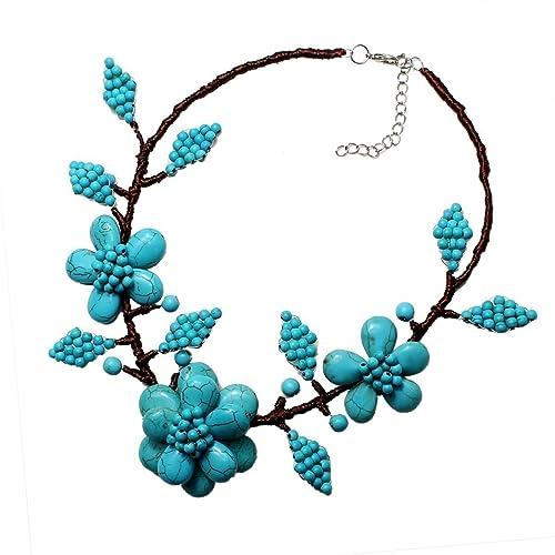 orologio migliori offerte su intera collezione Turchese Collana Collana di fiori turchese fatta a mano ...