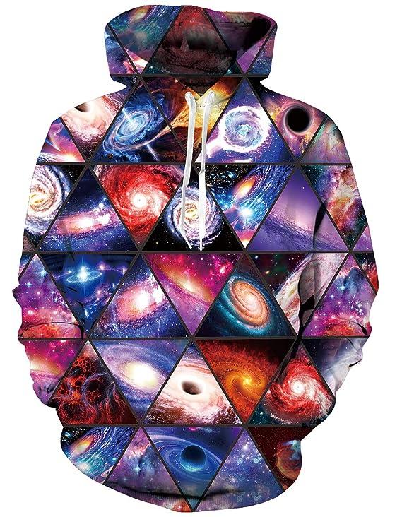RAISEVERN Uomo/Donna 3D Stampato Spazio Hoodies Pullover Divertente Graphic Sweater Felpe Felpa con Cappuccio in Pile