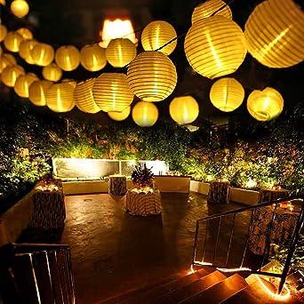 Qedertek Guirnaldas Luces Farolillos Solares 8M 30 LED Cadena de Luces Exterior Impermeable para Decoración Jardines Casas Bodas (Blanco Cálido): Amazon.es: Iluminación