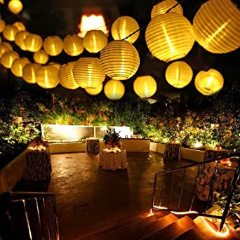 Qedertek Guirnaldas Luces Farolillos Solares 6M 30 LED Cadena de Luces Exterior Impermeable para Decoración Jardines