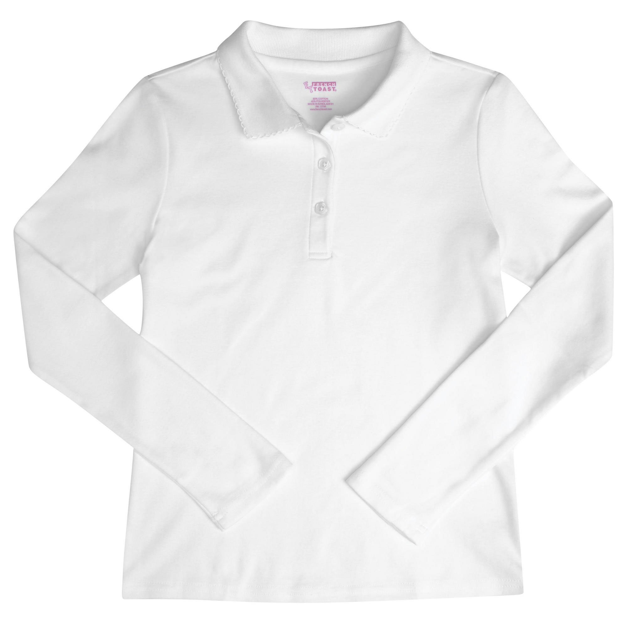 French Toast - Big Girls' Plus Long Sleeve Interlock Polo (White, 20)