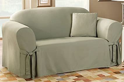 Attirant Sure Fit Cotton Duck   Sofa Slipcover   Linen (SF26666)