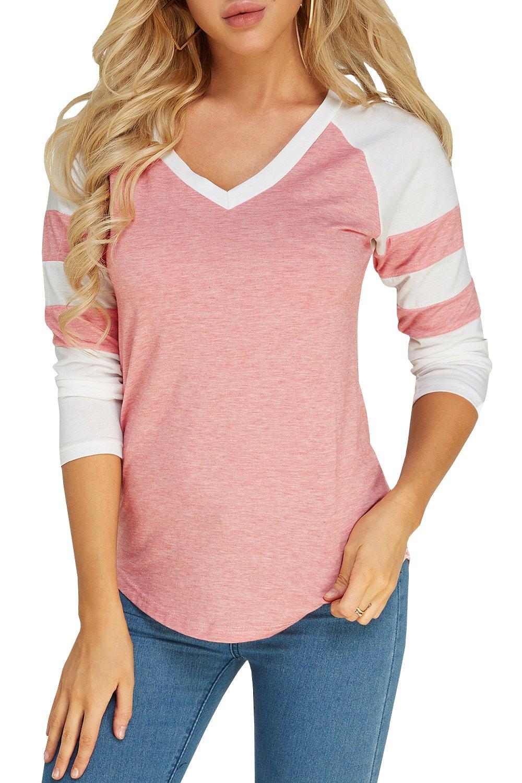 Foshow Womens 3/4 Sleeve Raglan Baseball Tee Jersey Striped V Neck Blouses Tshirts