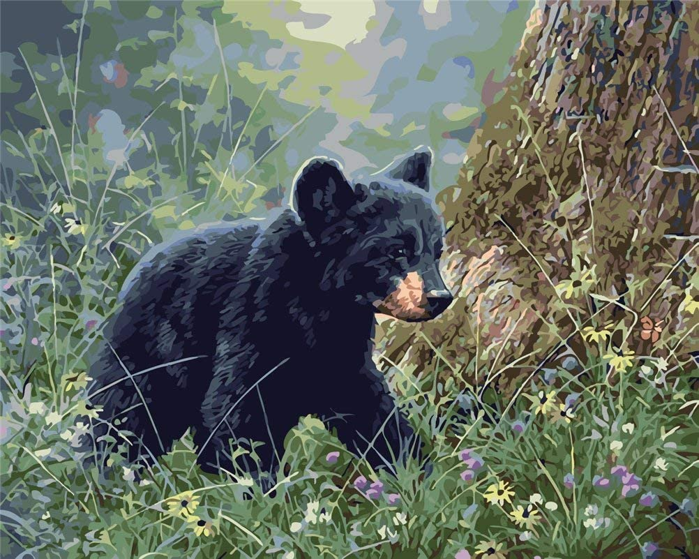 Kids Linen Canvas CaptainCrafts New Paint by Numbers 16x20 for Adults Beginner Children The Black Bear in The Forest Frameless