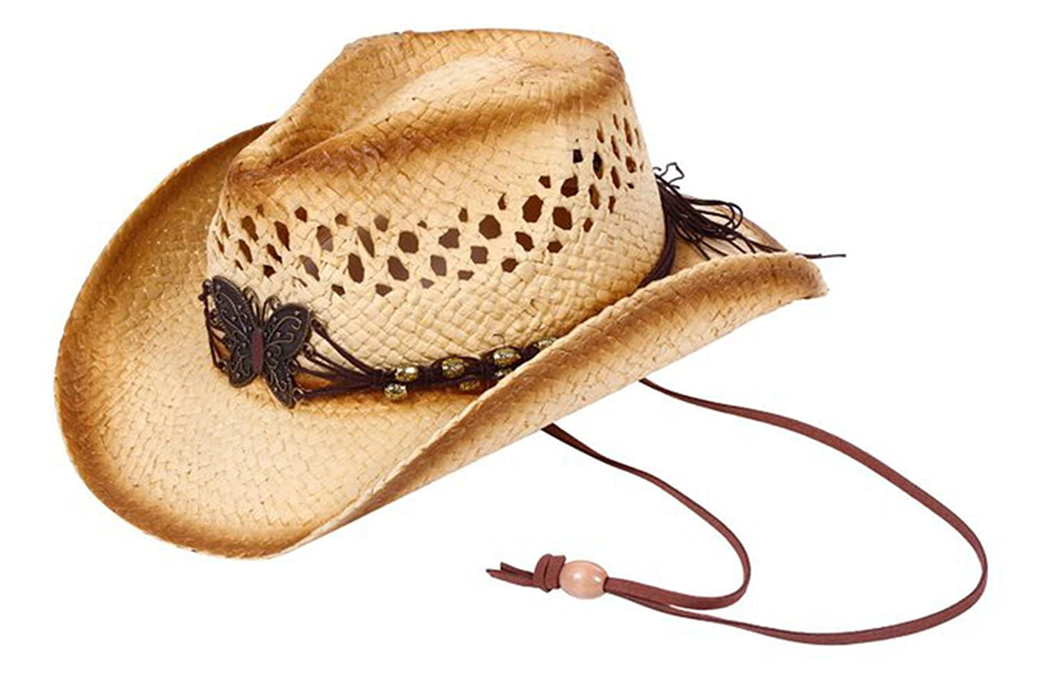 Shadana's Collection Women Men's Western Style Cowboy Cowgirl Straw Hat Wraps Band