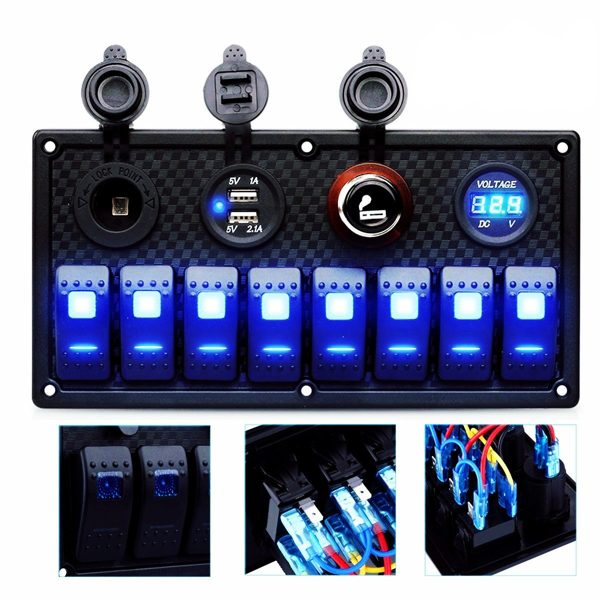 DCFlat 4 Gang / 6 Gang / 8 Gang Circuit LED Car Marine Boat Rocker Switch Panel Dual USB Waterproof Power Socket Breaker Voltmeter Overload Protection (8 Gang) by DCFlat