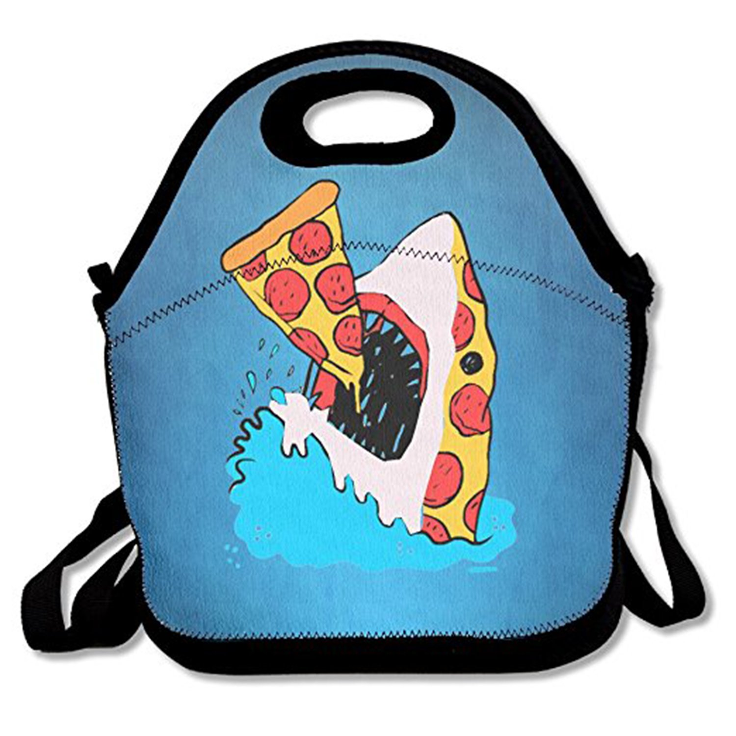 ZMvise Funny Sea Pizza Shark Lunch Tote Insulated Reusable Picnic Lunch Bags Boxes Men Women Kids Toddler Nurses Travel Bag