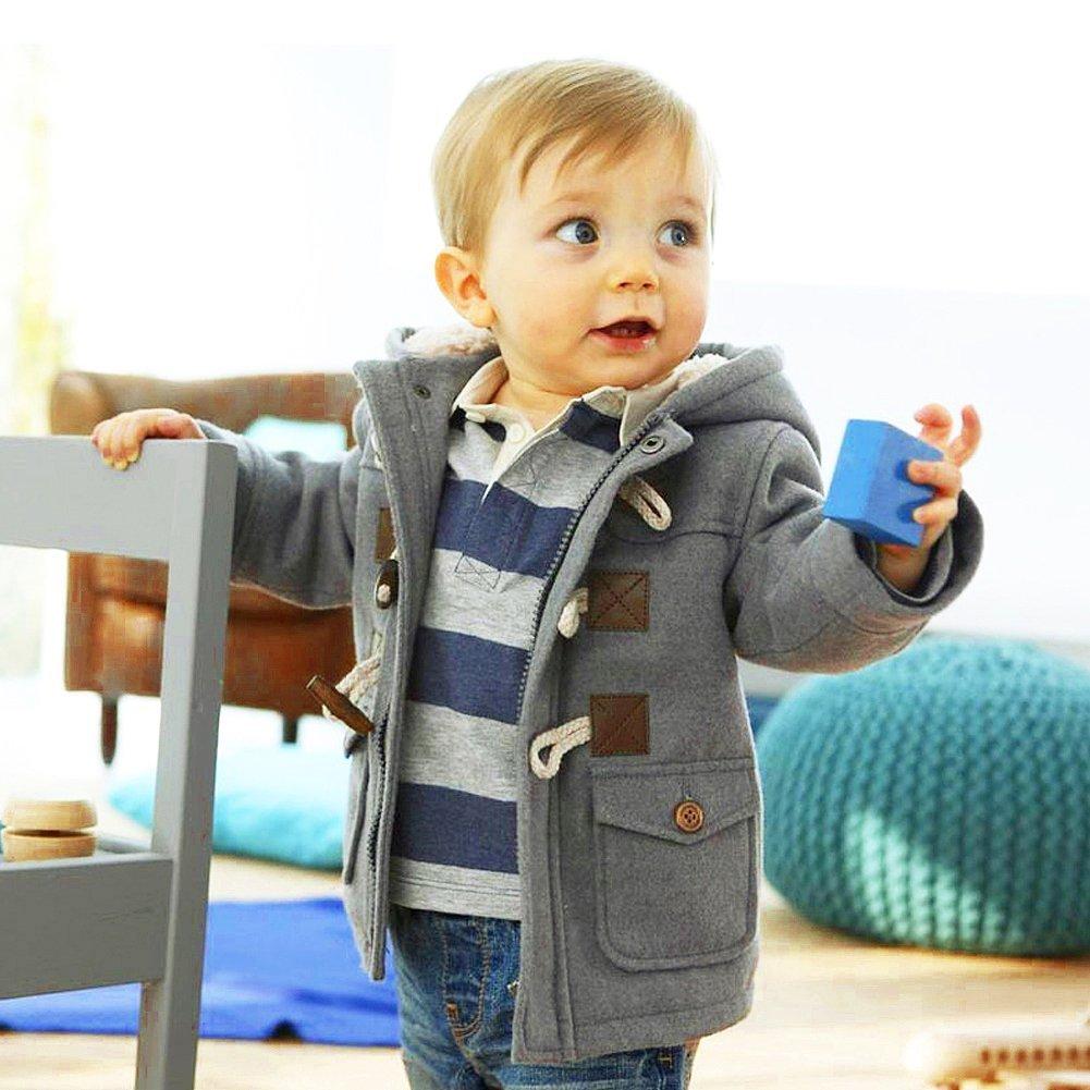 Hey~Yo Baby Boys Kids Coats Children Jacket Warm Winter Button Hooded Duffle Coat Jacket Outwear Clothes Snowsuit Outwear
