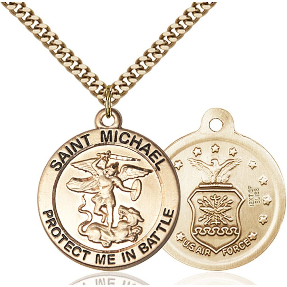 Gold Filled St. Michael the Archangel Pendant 1 x 1 5/8 inches with Heavy Curb Chain by Bonyak Jewelry Saint Medal Collection