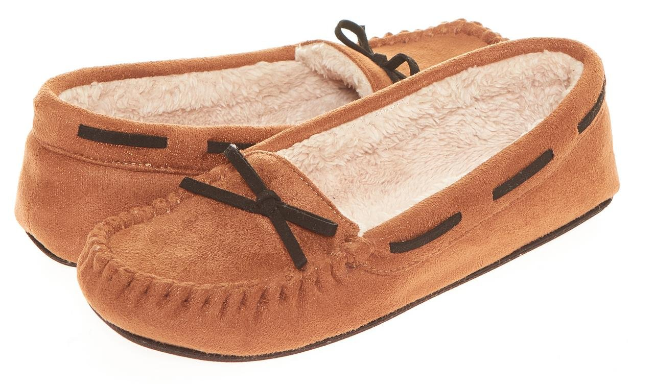 Seranoma Women's Slip-On Faux Fur Lined Flats Moccasin Slipper(S, Walnut)
