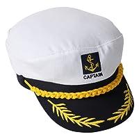 TRIXES Novità! Cappello da marinaio bianco e blu navy regolabile, cappello da capitano