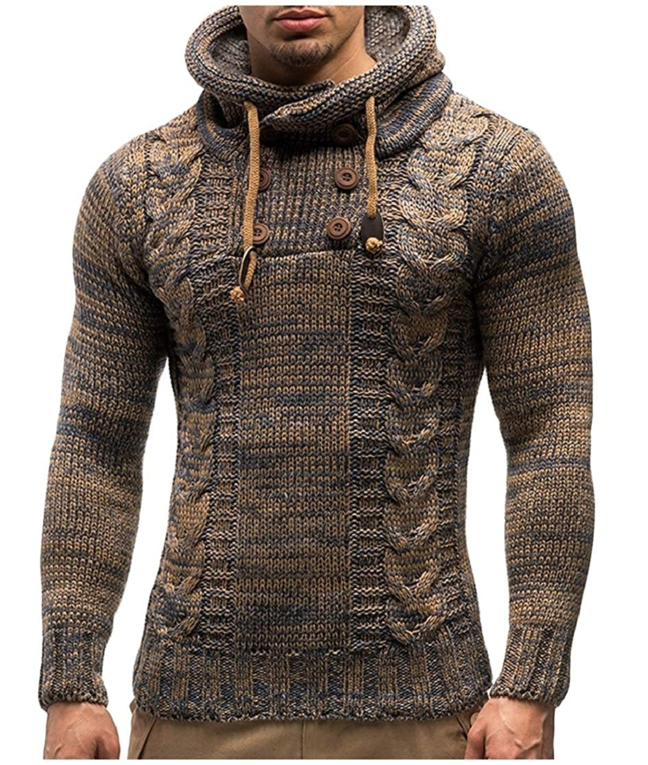 YUNY Mens Marled Cable Long Sleeve High Neck Outwear Knit Pullover Sweaters Khaki XL