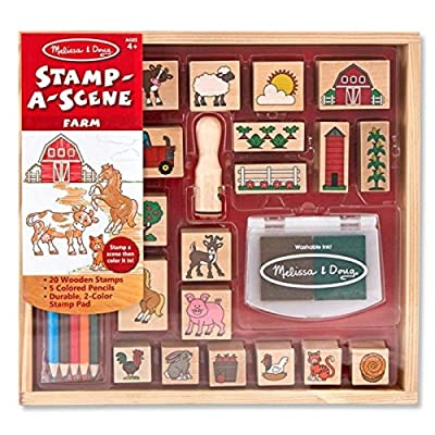Melissa & Doug 18592 Stamp-a-Scene Stamp Set with 20 Wooden Stamps, 5 Coloured Pencils and 2 Colour Stamp Pad, Farm: Toys & Games