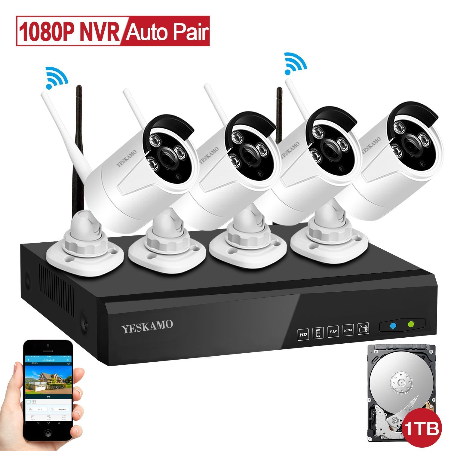 Wireless Security Camera System, YESKAM Home Camera Security System 1080P 4 Channel HD Network Video Recorder and 4pcs 1.3MP WiFi IP Cameras with 1TB HDD for Outdoor CCTV Video Surveillance System