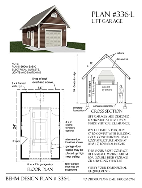 Garage Plans : 1 Car Automotive Lift Garage Plan - 336-L - 14\' x ...
